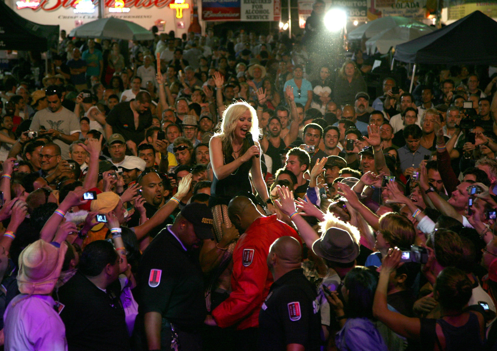 Terri Nunn and Berlin perform at the Los Angeles Pride Festival on June 14, 2009 in West Hollywood, California.