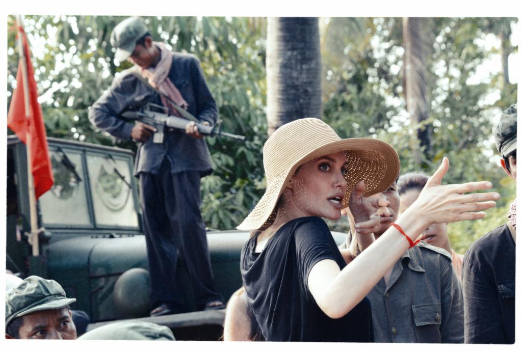 Angelina Jolie on the set of