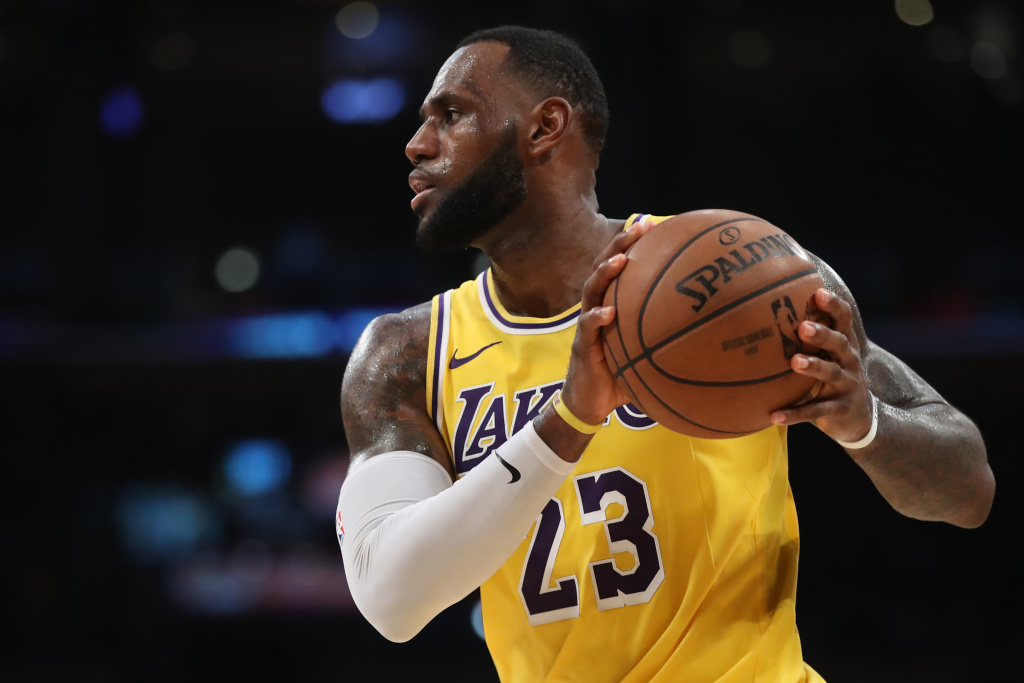 LeBron James #23 of the Los Angeles Lakers looks on during the first half of a game against the Los Angeles Clippers at Staples Center on March 04, 2019 in Los Angeles, California.