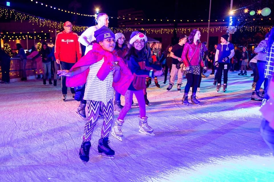 Ice skaters at the ice rink in downtown Santa Monica.