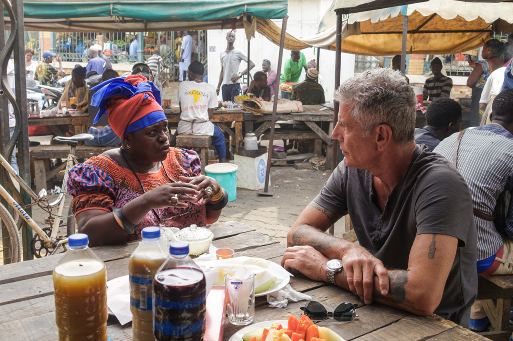 In 2016, NPR correspondent Ofeibea Quist-Arcton shared breakfast with Anthony Bourdain at Marché Kermel in Dakar, Senegal.