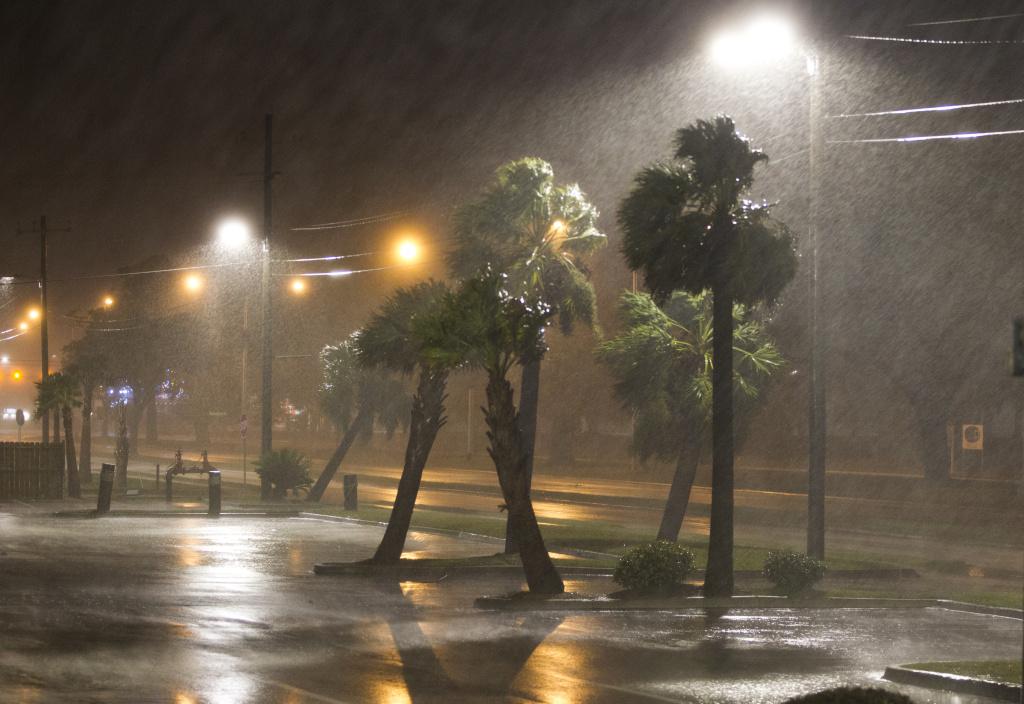 The eye of Hurricane Nate pushes ashore in Biloxi, Mississippi on Sunday, October 8, 2017.