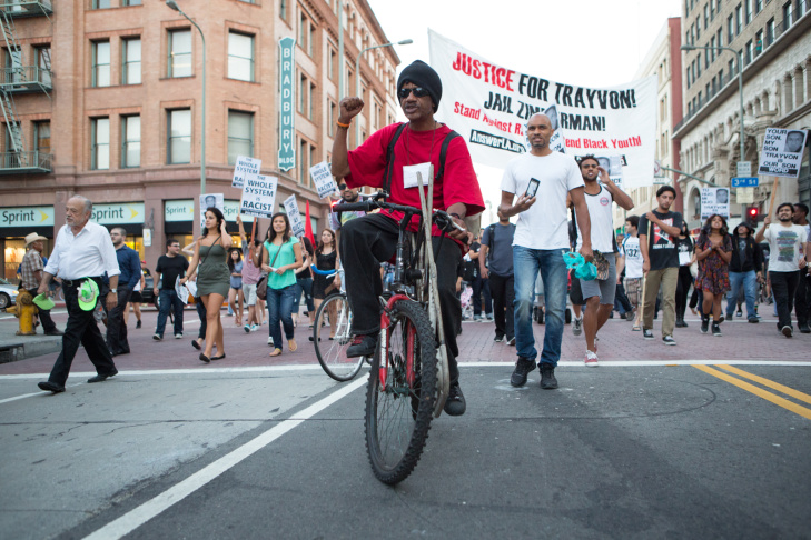 Hundreds of protesters march through downtown Los Angeles on July 16th, 2013 in response to the George Zimmerman case verdict.