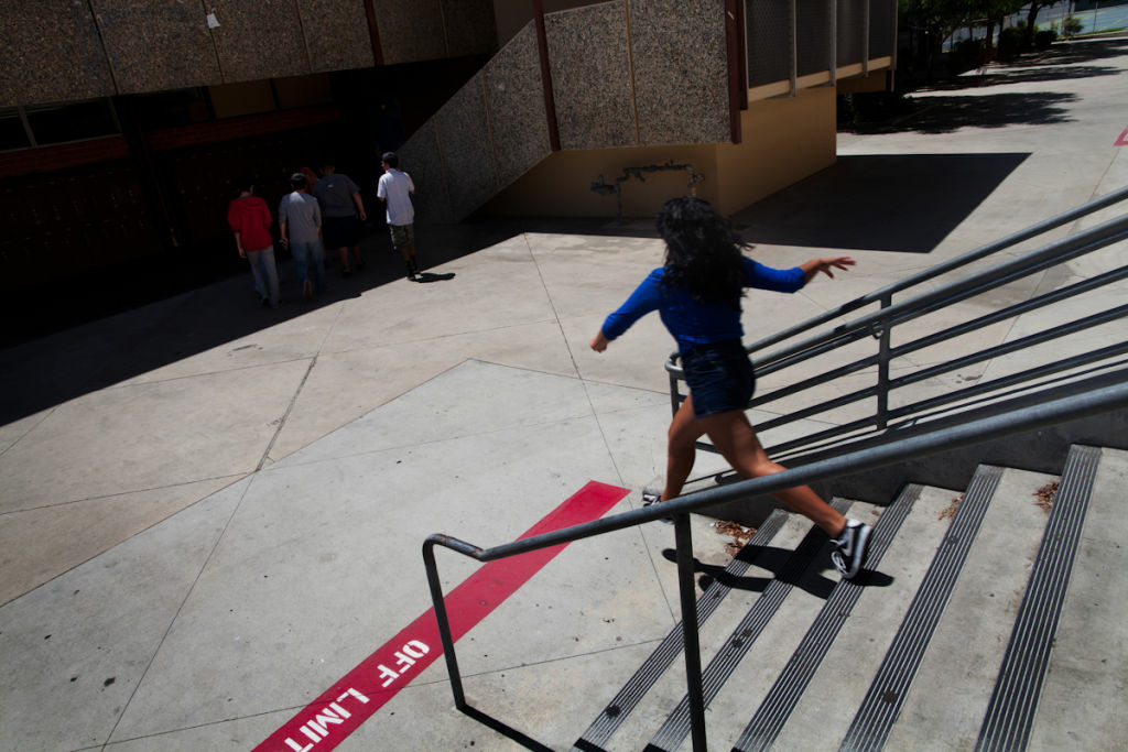 File photo: A student walks down a flight of stairs at Alhambra High School during the summer. On Tuesday, April 15, 2014, students were evacuated after a reported gas smell.
