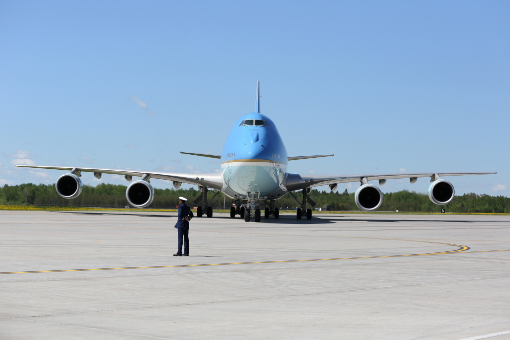 Air Force One after lands in Bagotville, Canada, in June. At the G-7 meeting there, President Trump threw traditional U.S. allies into disarray over his trade and security policies.