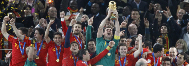 Spain's goalkeeper Iker Casillas holds the trophy during the award ceremony following the 2010 FIFA football World Cup between the Netherlands and Spain on July 11, 2010 at Soccer City stadium in Soweto, suburban Johannesburg. Spain won 1-0.
