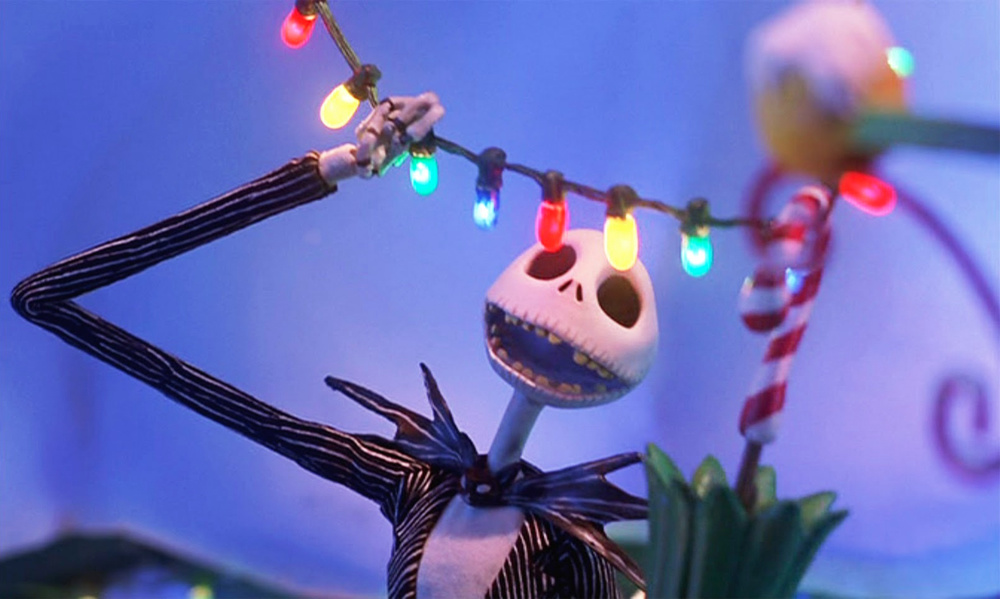 Jack Skellington looks at some Christmas lights in Christmas town.