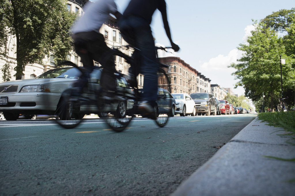 File: People ride along a controversial bike lane on Prospect Park West on Aug. 17, 2011 in the Brooklyn borough of New York City.