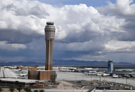The air traffic control tower at McCarran International Airport is shown on March 19, 2020 in Las Vegas, Nevada.