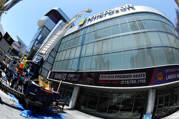 In this handout photo provided by AEG/Microsoft Theater, a general view of the exterior at Microsoft Theater as new signage is installed on Tuesday in downtown Los Angeles.