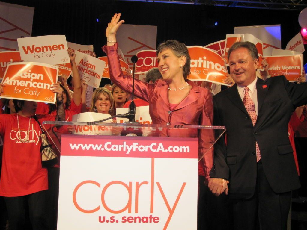 Carly Fiorina talks to supporters after winning the Republican nomination for the U.S. Senate race.