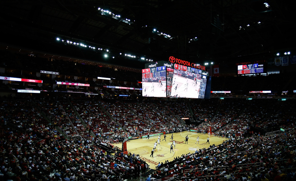 A general view of the arena is seen during the game between the Houston Rockets and the Sacramento Kings at the Toyota Center on April 14, 2013 in Houston, Texas.