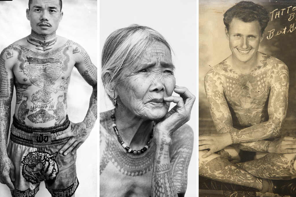 "A photo collage shows some of the images in a new exhibit on tattoos at the Natural History Museum of Los Angeles. (L) Yonyuk Watchiya ""Sua"