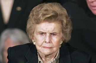 Betty Ford in 1996 at her husband's funeral
