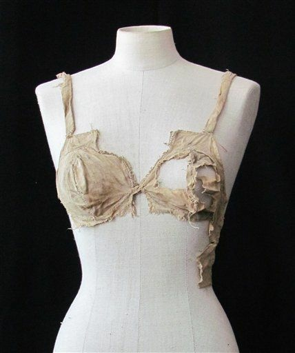 This undated picture publicly provided by the Archeological Institute of the University of Innsbruck, shows a medieval bra. The bra is commonly thought to be little more than 100 years old as corseted women abandoned rigid fashions and opted for the more natural look. But that timeline is about to be revised with the discovery of four brassieres from the Middle Ages in a debris-filled vault of an Austrian castle.