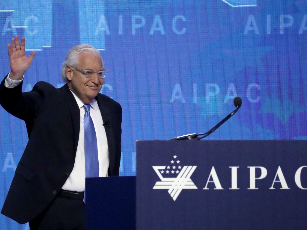 U.S. Ambassador to Israel David Friedman addresses the American Israel Public Affairs Committee's on March 6.