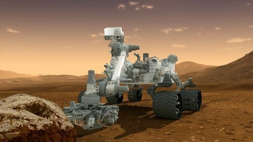 This artist's concept features NASA's Mars Science Laboratory Curiosity rover, a mobile robot for investigating Mars' past or present ability to sustain microbial life. Curiosity will land near the Martian equator about 10:31 p.m., Aug. 5 PDT (1:31 a.m. Aug. 6 EDT).