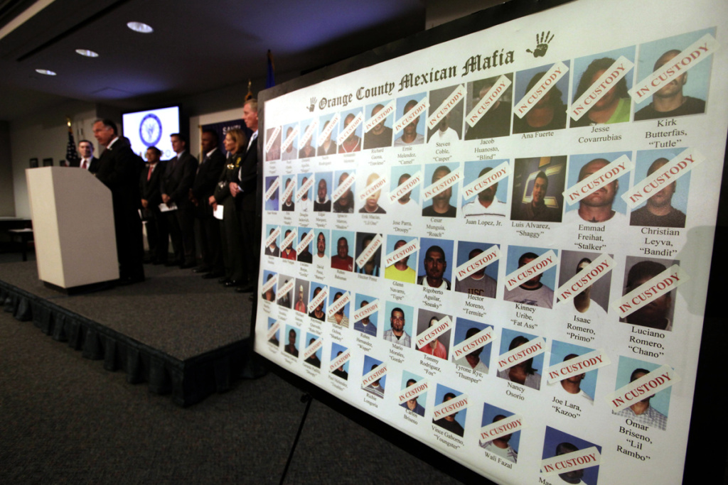Federal state and local law enforcement are shown during a news conference Wednesday July 13, 2011 in Santa Ana, Calif., where authorities announced dozens of people have been arrested in an Orange County crackdown on gangs with ties to the Mexican Mafia. The raids followed a 2 1/2-year investigation.