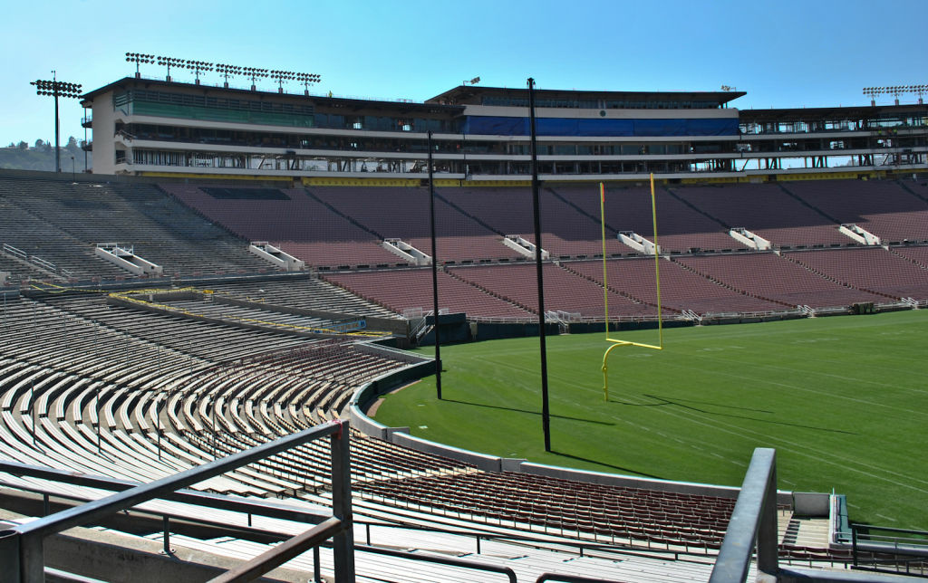 The Rose Bowl has been getting rennovated since 2011 and construction is set to finish by 2014.
