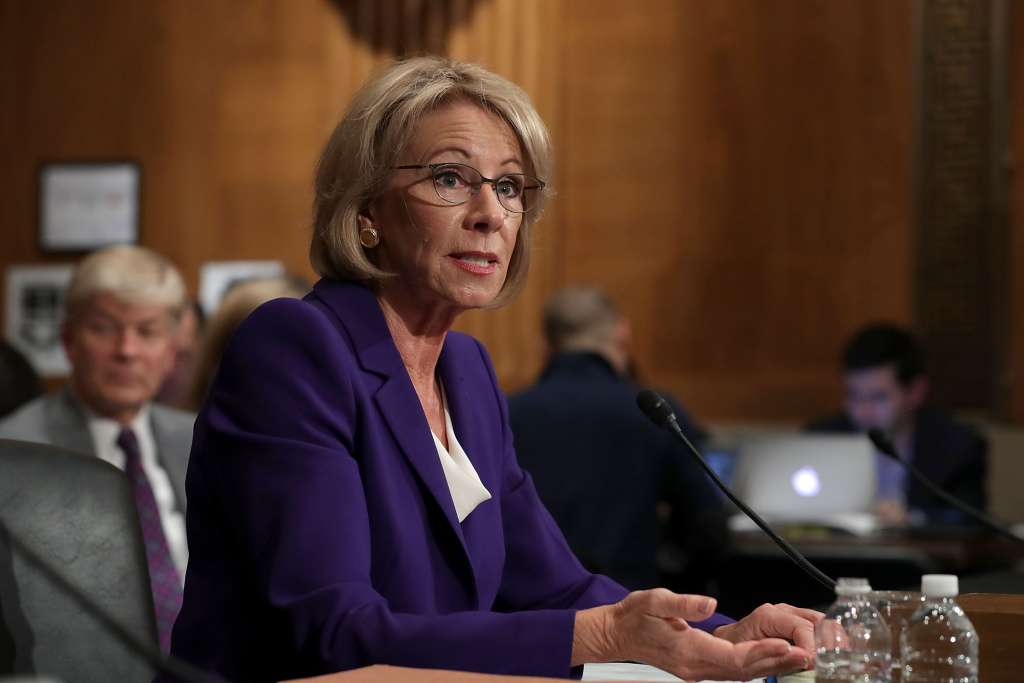 Betsy DeVos, President-elect Donald Trump's pick to be the next Secretary of Education, testifies during her confirmation hearing before the Senate Health, Education, Labor and Pensions Committee.