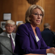 WASHINGTON, DC - JANUARY 17:  Betsy DeVos, President-elect Donald Trump's pick to be the next Secretary of Education, testifies during her confirmation hearing before the Senate Health, Education, Labor and Pensions Committee in the Dirksen Senate Office Building on Capitol Hill  January 17, 2017 in Washington, DC.