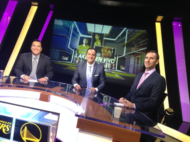 Adrian Garcia Marquez, Francisco Pinto, and Pepe Sanchez will be courtside for most Lakers games.