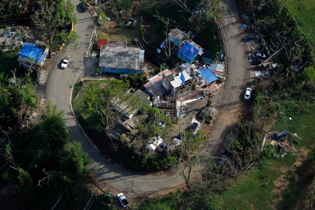 An aerial view of houses affected by Hurricane Maria in Naranjito, Puerto Rico, on October 23, 2017.