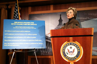 U.S. Senator Barbara Boxer at a press conference in the Capitol.