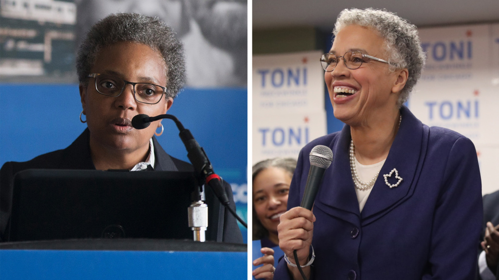 Chicago mayoral candidate Lori Lightfoot (left), speaks at a press conference about the Police Accountability Task Force in 2016. Mayoral candidate Toni Preckwinkle appears with supporters Tuesday night in Chicago. Now Lightfoot, who earned 17.5 percent with 90,000 votes, and Preckwinkle, at 16 percent with 82,000 votes, will go head-to-head in a runoff election April 2.