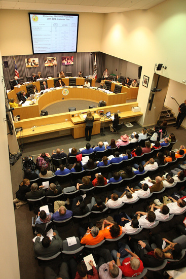 Teachers and supporters attend a meeting of the Los Angeles Unified School District Board of Education in April.