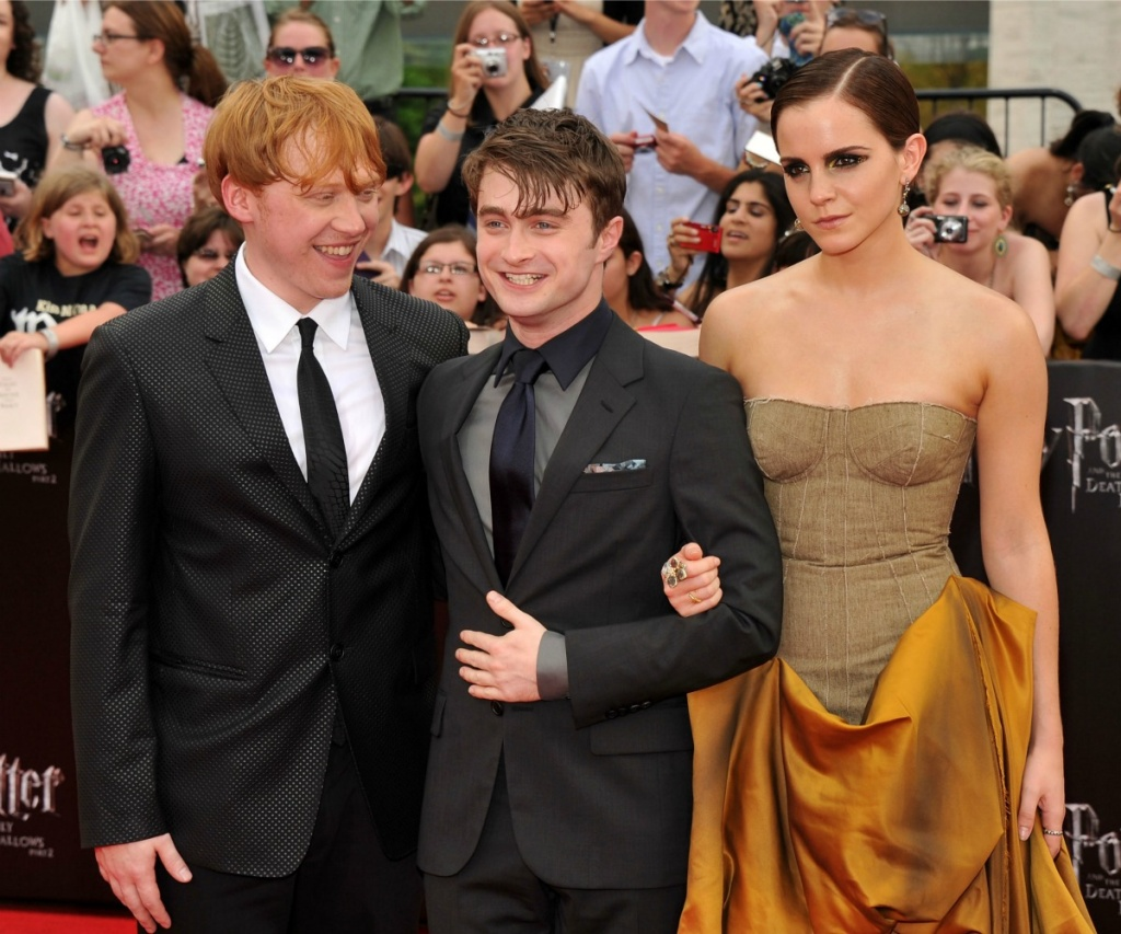 Rupert Grint, Daniel Radcliffe and Emma Watson attend the New York premiere of Harry Potter And The Deathly Hallows: Part 2.