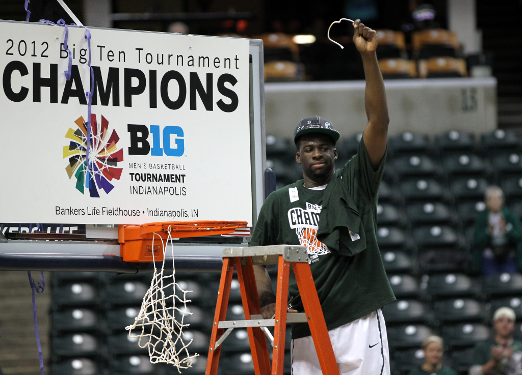 Draymond Green #23 of the Michigan State Spartans celebrates after winning against the Ohio State Buckeyes during the Final Game of the 2012 Big Ten Men's Conference Basketball Tournament. Michigan State will be the No. 1 seed despite starting the season unranked.