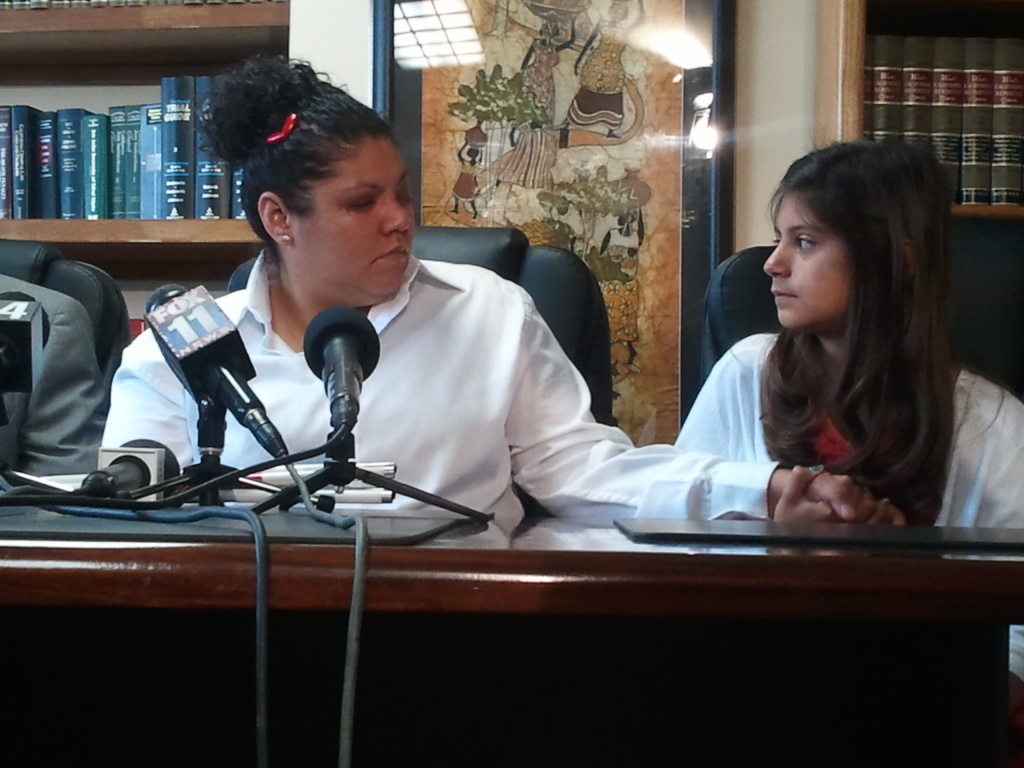 Monique Hernandez, 32, talks about never being able to see her 10-year old daughter again now that she is blind, a condition caused by being shot in the head with a pepper spray gun shot by a Beaumont police officer in February.