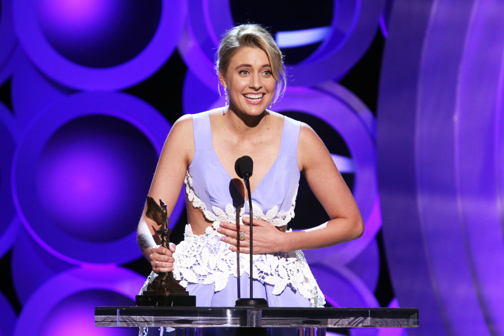 Actor/writer/director Greta Gerwig accepts Best Screenplay for 'Lady Bird' onstage during the 2018 Film Independent Spirit Awards on March 3, 2018 in Santa Monica, California.