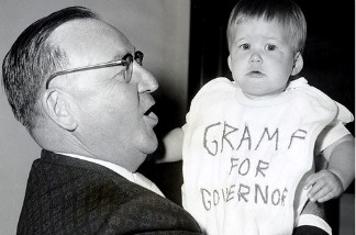 Pat Brown and a very young supporter of his campaign.