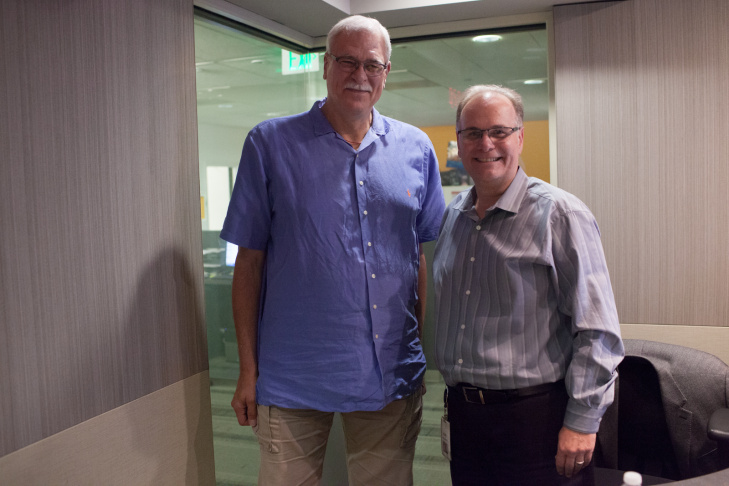 Former Lakers coach Phil Jackson at the KPCC studios.