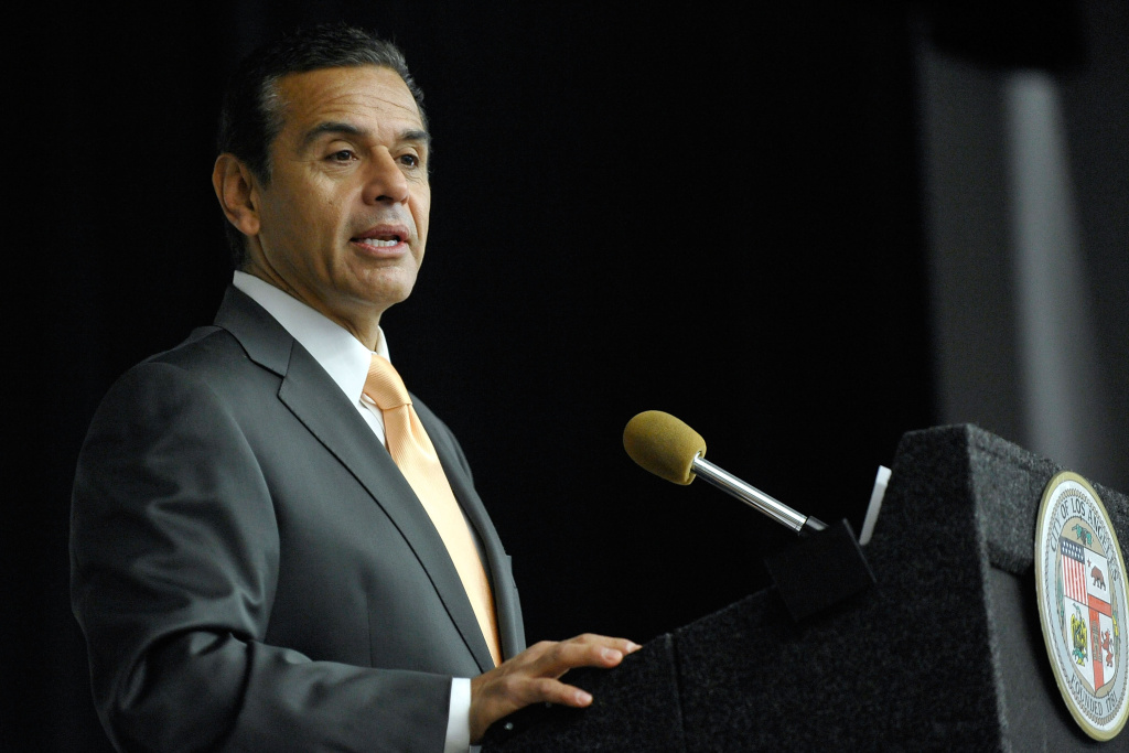 Then-Mayor Antonio Villaraigosa speaks at the Mendez Learning Center on Nov. 21, 2011, in Los Angeles.