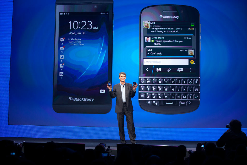 Thorsten Heins, president and chief executive officer of BlackBerry, presents the company's new phones: BlackBerry Z10 and the BlackBerry Q10 at its launch in New York City January 30, 2013.