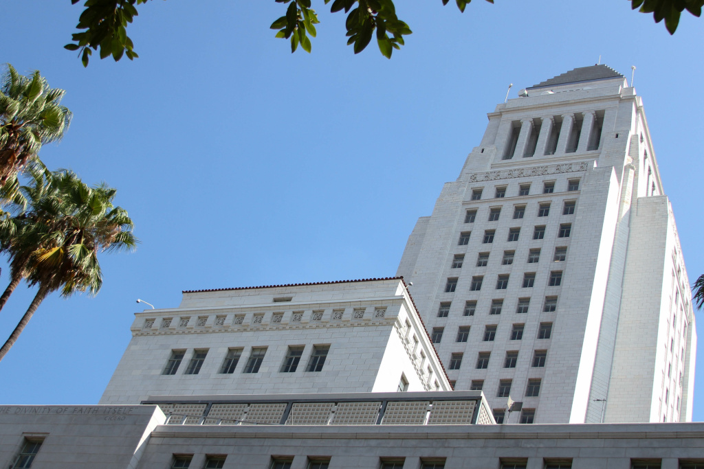 City Hall in downtown Los Angeles on Aug. 17, 2017.