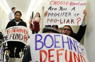 Pro-life activist Randall Terry and other activists staged a protest to urge Boehner to defund Planned Parenthood.