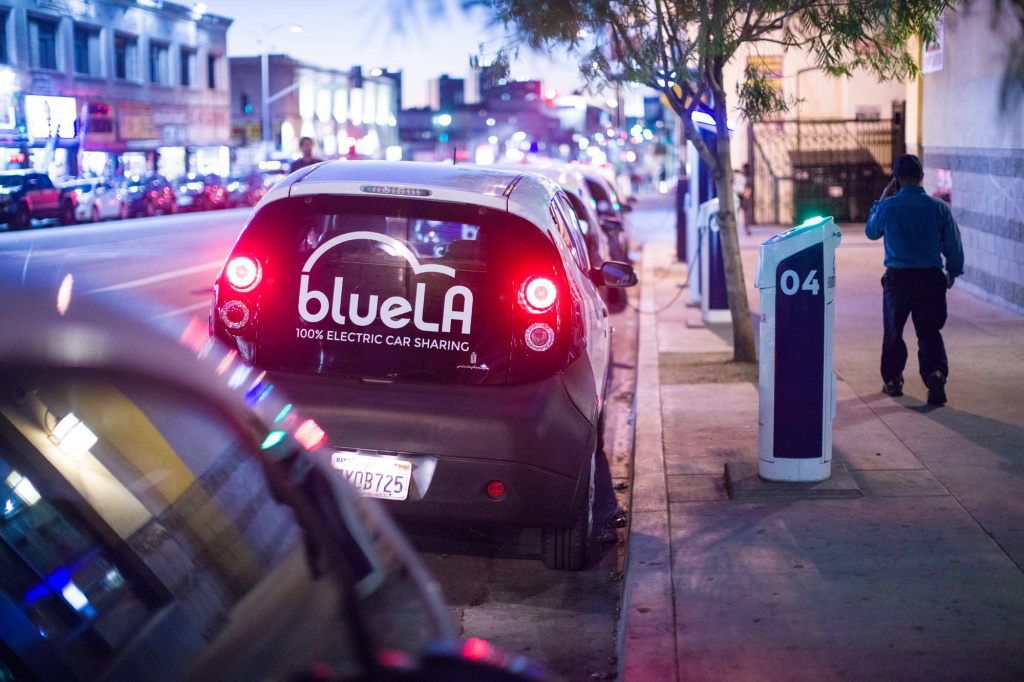 Each electric car in the Blue LA car share program has its own dedicated charger.