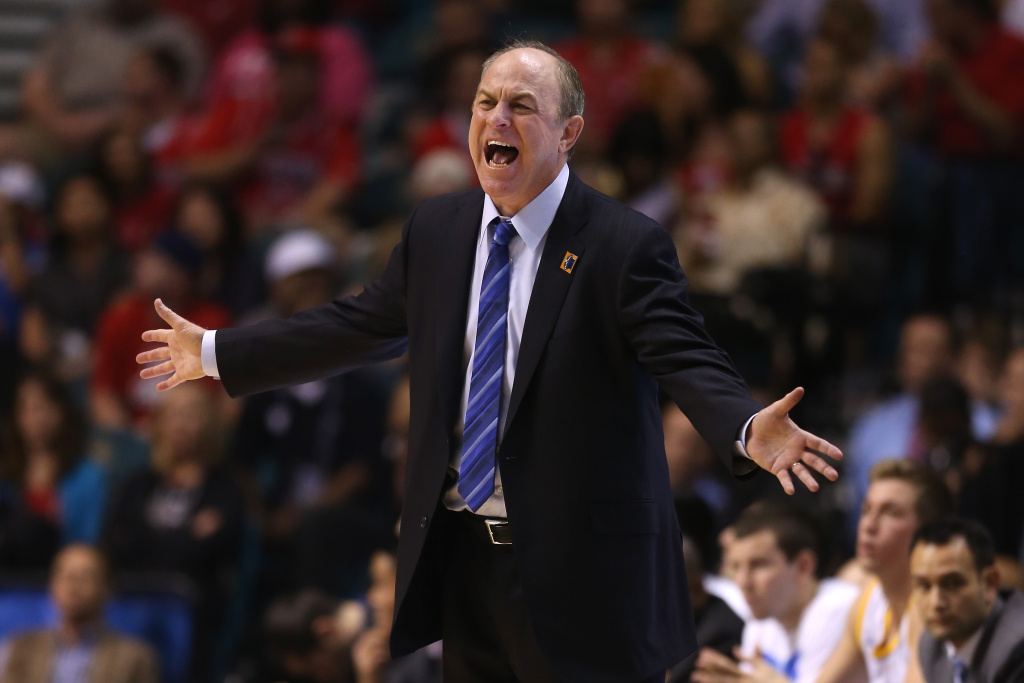 Head coach Ben Howland of the UCLA Bruins calls out while taking on the Arizona Wildcats in the second half during the semifinals of the Pac-12 tournament at the MGM Grand Garden Arena on March 14, 2013 in Las Vegas, Nevada.