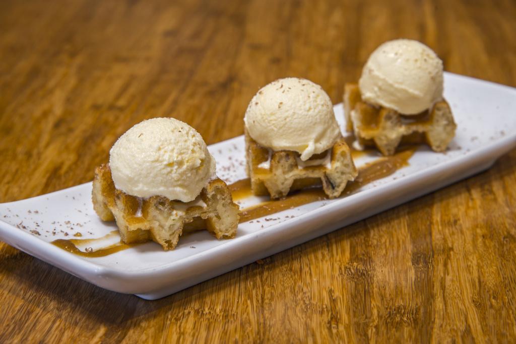 Crispy waffles with ice-cream.