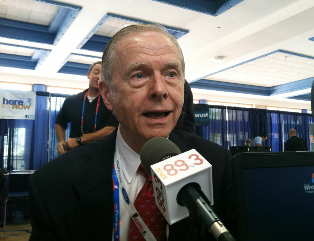 Former Governor of California, Pete Wilson, stops by AirTalk to speak with Larry Mantle at the 2012 Republican National Convention on Aug. 28, 2012.