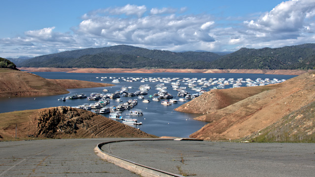 Lake Oroville, the largest reservoir in the State Water Project and the second-biggest in California after Lake Shasta, was at 50 percent of capacity on April 5, 2014.