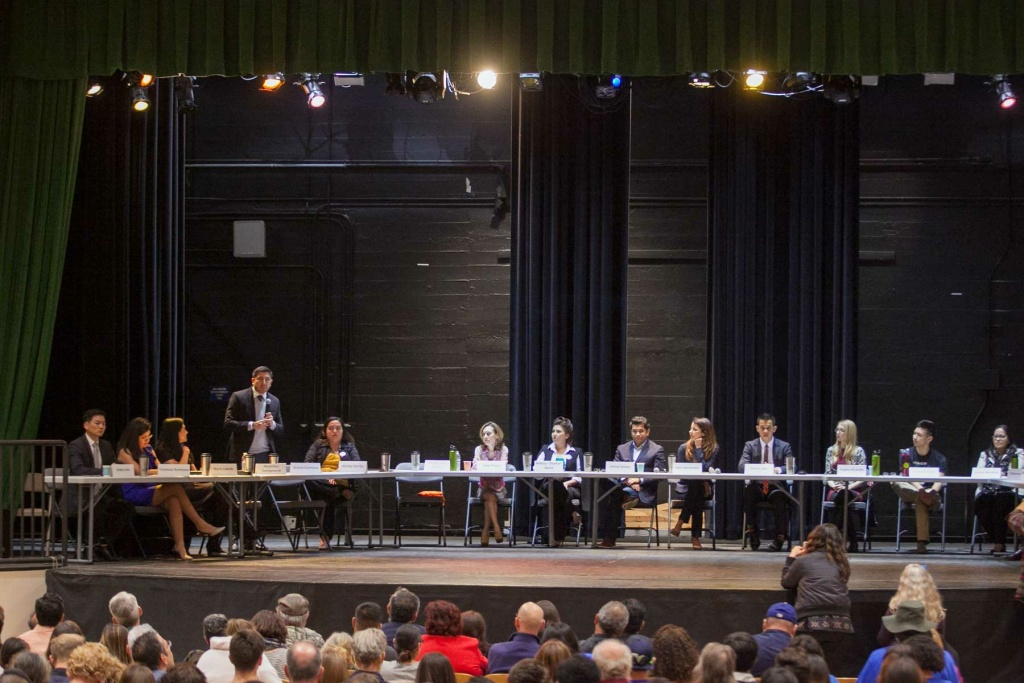 Candidates make their pitch at a 34th Congressional District Candidate Forum on Wednesday, Mar. 23, 2017, at Eagle Rock High School.
