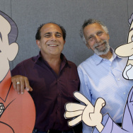 "Ray Magliozzi, left, and his brother, the late Tom Magliozzi, hosts of National Public Radio's ""Car Talk"" show, with their cartoon likenesses in Cambridge, Mass., in 2008."