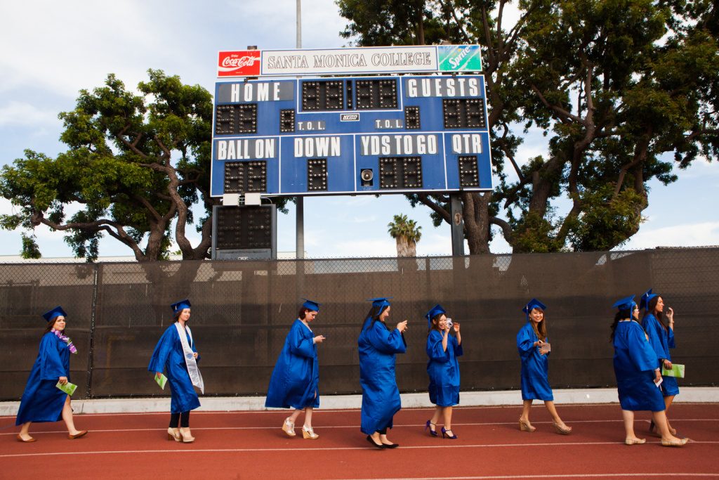 Students at Santa Monica college walk towards their graduation on June 11th, 2013.