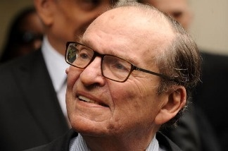 Director Sidney Lumet waits to enter the funeral service of late singer/actress Lena Horne.
