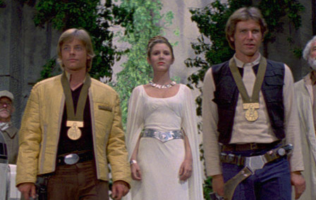 Mark Hamill, Carrie Fisher and Harrison Ford at the conclusion to
